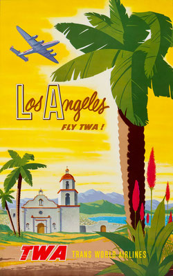 Original Vintage Poster - Offset Print - TWA - Los Angeles