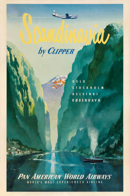 Pan American World Airways - Scandinavia by Clipper Oslo Stockholm Helsinki København - 1951