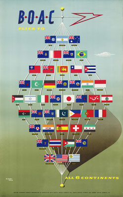 Abram Games - BOAC flies to all 6 continents - Vintage Modernism Poster