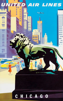 Joseph Binder - UAL - Chicago - vintage airline poster