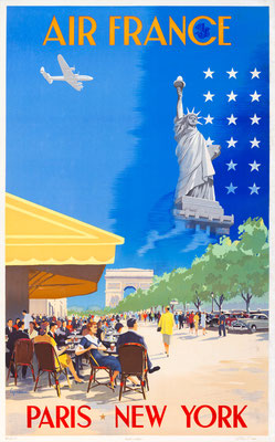 Vincent Guerra - Air France - Paris–New York - Original Vintage Poster (Old School Illustration)