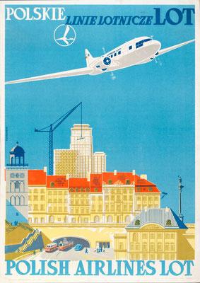 LOT - Polskie Linie Lotnicze LOT Polish Airlines LOT - Luckiewicz, Zygmunt (Tuckiewicz?) - 1950s