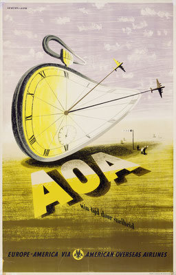 Lewitt-Him - American Overseas Airlines  - AOA win tijd door snelheid - Vintage Modernism Poster