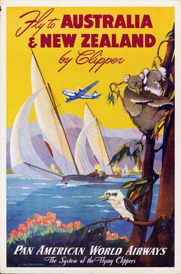 Pan American World Airways - Australia & New Zealand by Clipper - Mark von Arenburg - 1940s
