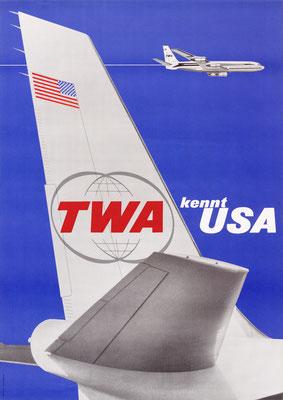 TWA kennt USA - Adolf Wirz - 1966 - 90 x 128 cm (Weltformat)