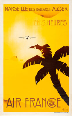 Albert Solon - Air France - Marseille-Baleares-Alger - Vintage Art Deco Poster