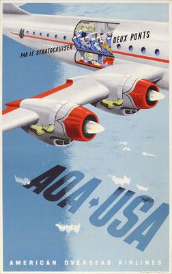 Lewitt-Him - American Overseas Airlines  - AOA > USA Par le Stratocruiser deux Ponts - Vintage Modernism Poster
