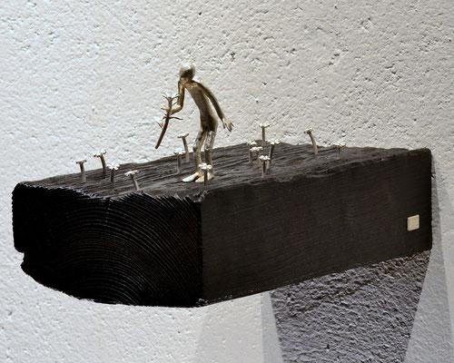 Skulptur wedding anniversary von Holger Schulz Småland Schweden Sterlingsilber und Holz