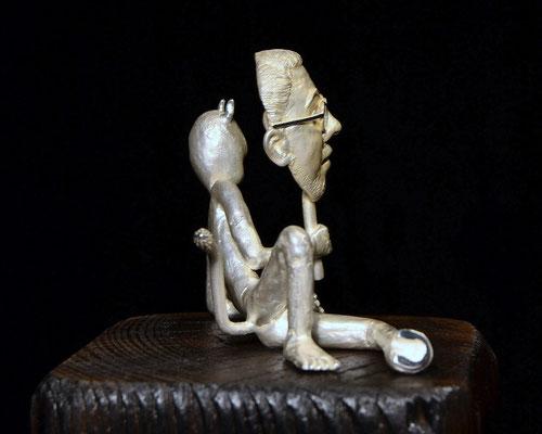 Jimmie Skulptur aus Sterlingsilber und Holz von Holger Schulz Schweden