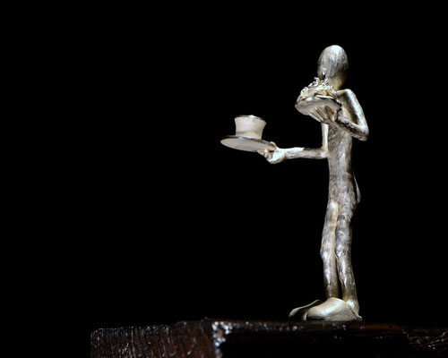 Fika  skulptur av  Holger Schulz  Sverige silver och trä