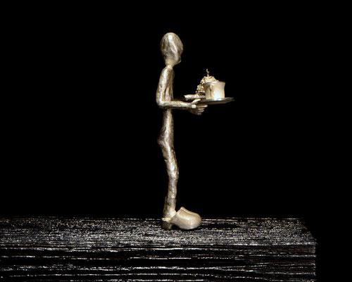 Fika Skulptur  von  Holger Schulz Schweden Silber und Holz typisch schwedisch