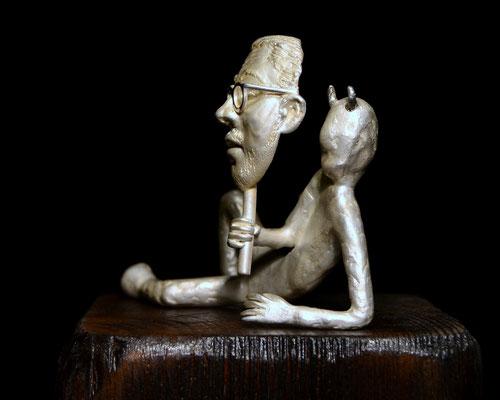 skulptur Jimmie av Holger Schulz Sverige silver och trä