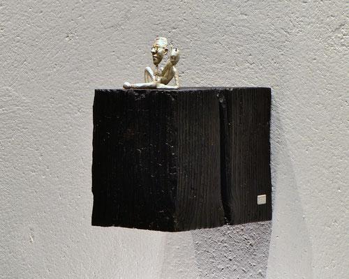 skulptur Jimmie av Holger Schulz Sverige silvergjutning och trä