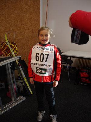 Sophia bei ihrem ersten Rennen