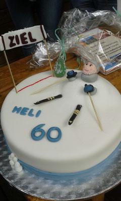"""Sch.... , da steht ja doch """"Heli 60"""" auf der Torte!"""