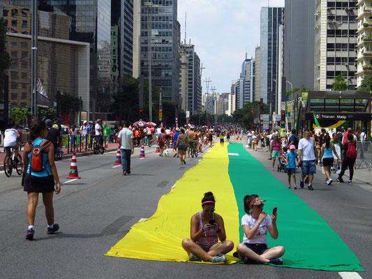 Die Avenida Paulista - berühmt für die Carnevalsumzüge. Sonntags ist sie immer autofrei und Treffpunkt für Künstler, Familien und Radler.