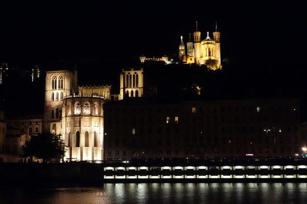 Blick über die Saône auf das alte Lyon