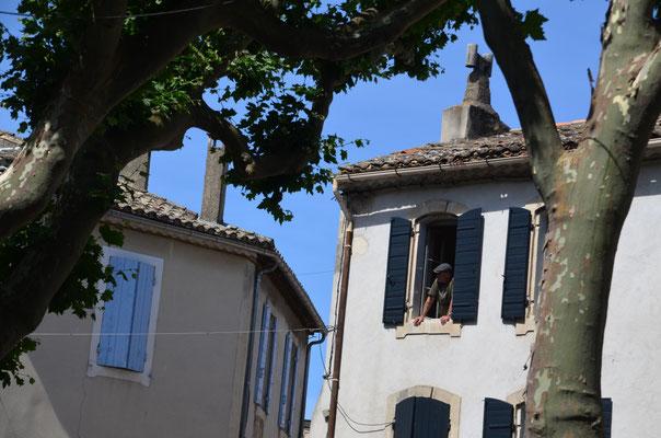 Dieser Fenstergucker wartet mit vielen anderen Besuchern auf den am Pfingstmontag stattfindenden Umzug