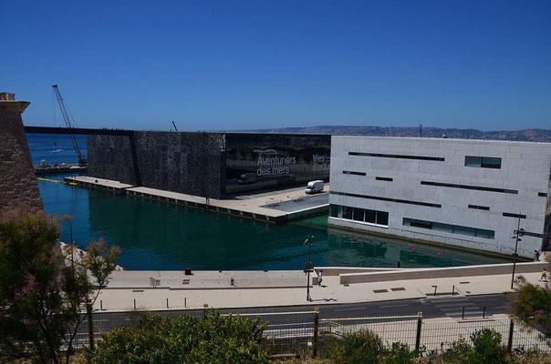 Blick auf das MuCEM, das Museum der Zivilisationen Europas und des Mittelmeers