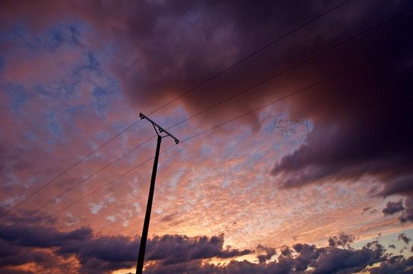Stromleitung im Sonnenuntergang. Foto: Esther Knipschild