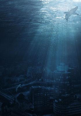 Hamburg unter Wasser · 60 x 90 cm ·  Aludibond: € 590,- · Acrylglas auf Aludibond: € 710,-   · © Stefan Korff