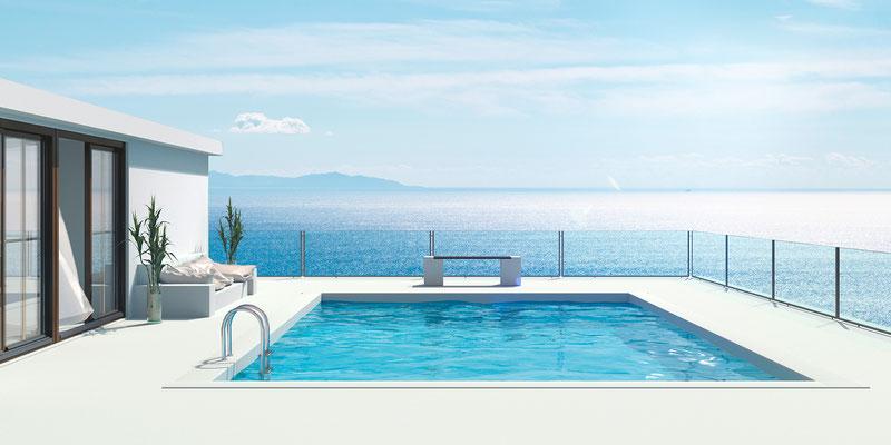Ausblick Pool III · 190 x 95 cm  · Aludibond: € 1.680,- ·Acrylglas auf Aludibond: € 1.980,-  · © Stefan Korff