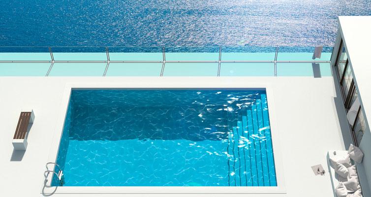 Ausblick Pool II · 180 x 95 cm  · Aludibond: € 1.630,- ·Acrylglas auf Aludibond: € 1.940,-  · © Stefan Korff