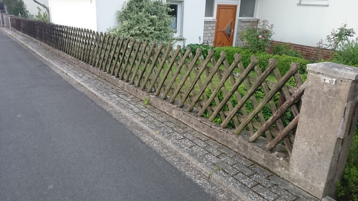 Beton-Gartenmauer - vorher