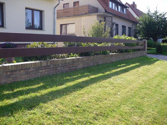 Klinker-Gartenmauer - vorher