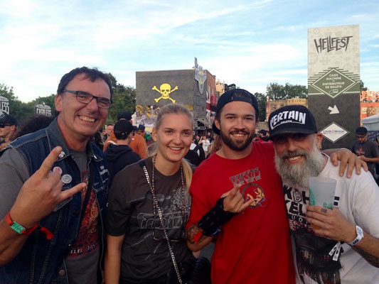 With our son Lukas, his girlfriend Caro and Arno (Black Bomb A), Hellfest 2018
