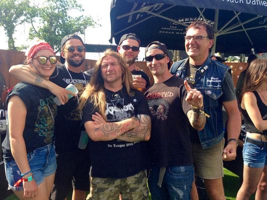 With Caro, Lukas, and Hervé, Jacou, Sam (Black Bomb A), Hellfest 2018