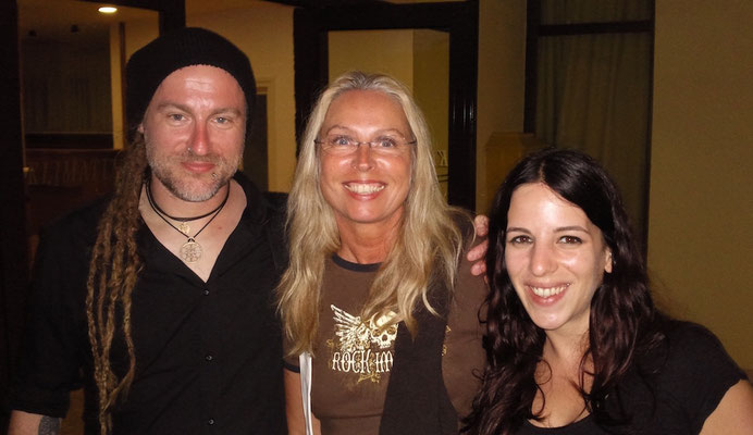 Reina with Chrigel and Meri, Eluveitie, Zadar, June 2012