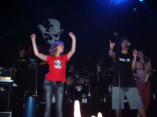 Our daughter Miriam on stage with Pantéon Rococo during her 16th birthday.