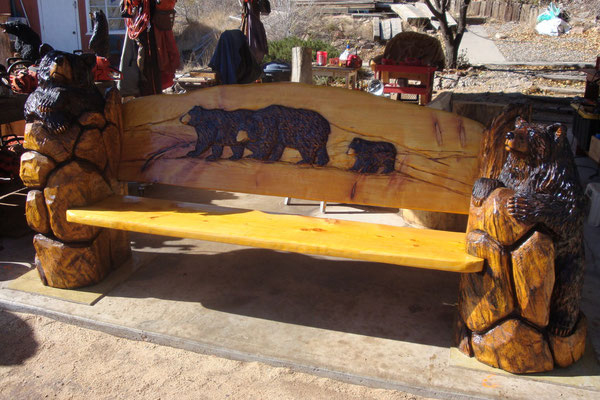 Carved signs benches sandia bear company albuquerque nm