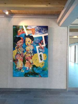 """""""Mangofrauen"""" (2019, Leinwand, Oel, Seidenpapier, HxB: 210x150cm)"""