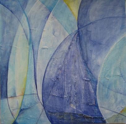 Blaues Segel und Großvater  50 x 50cm    Acryl auf Hartfaser