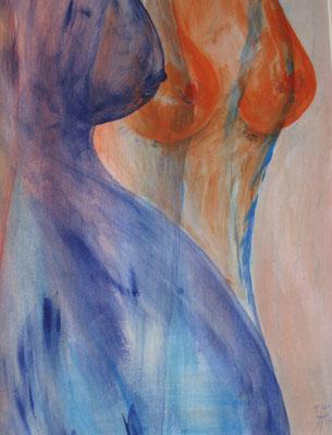 Drei Brüste            Acryl auf Hartfaser Feb 14