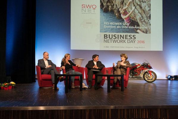 Podium mit Markus F. Kaiser, Sabine Holbrook, Stephan Klapproth und Doris Russi Schurter, #BND16