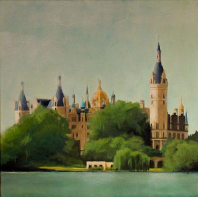 Schweriner Schloss, 60x60cm auf Leinwand - verkauft