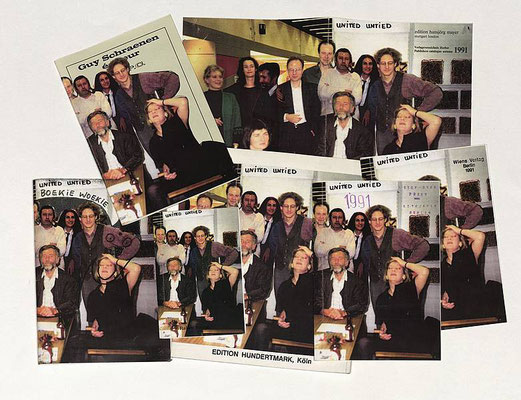 Sales catalogues of the different members of United Untied with a montage of a group photo on the cover, 1991