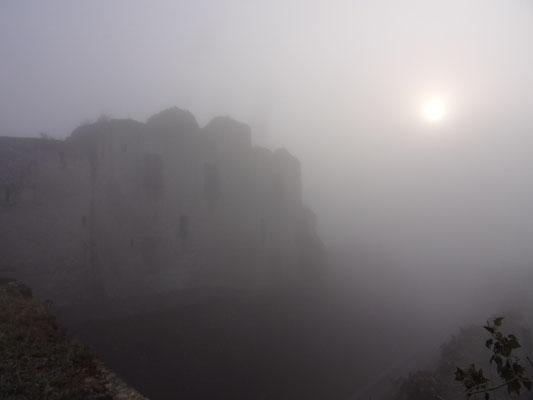Château de Picquigny, façade sud un matin de brume mars 2016. Photo Damien Maupin