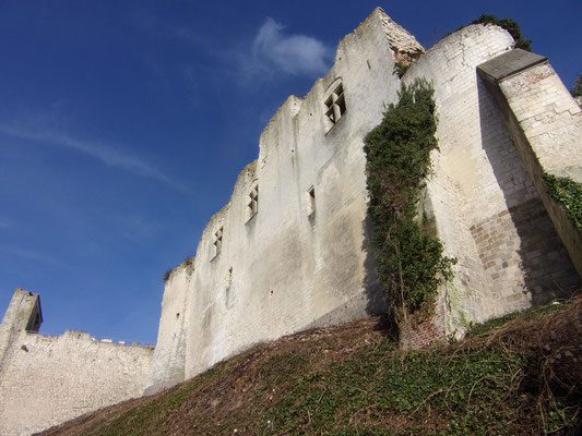 Château de Picquigny, façade sud et barbacane depuis la rue des rossignols. Photo Damien Maupin