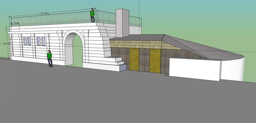 Château de Picquigny. Avant projet de couverture de la tour sud-ouest. Vue nord-ouest