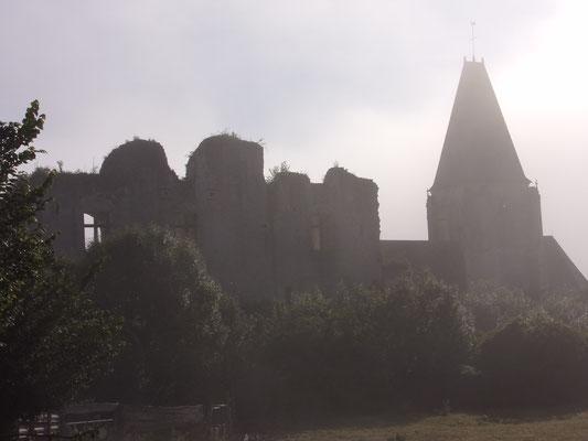 Château de Picquigny façade sud un matin de brume. Photo Damien Maupin