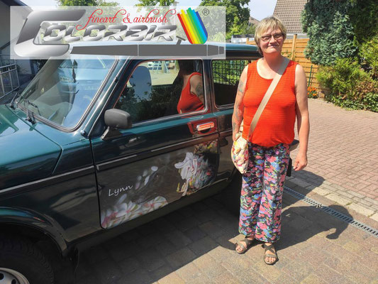 Lada Autotüren Hundeportraits Windhunde