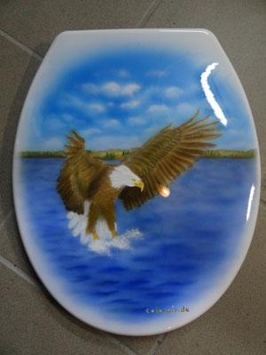 US Eagle Design Harley Davidsson auf Kloositz