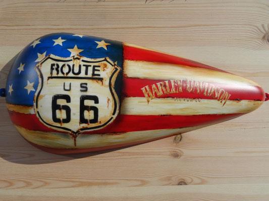 Harley Davidson Tankhälfte Route 66 Stars Stripes Design
