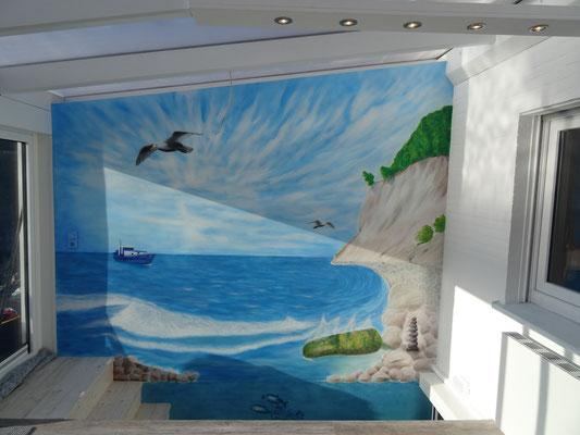 Nordsee Wandmalerei Kreidefelsen Möwe Brandung Kutter, Wandmalerei