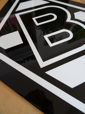 Borussia Mönchengladbach Logo auf Edelstahlplatte