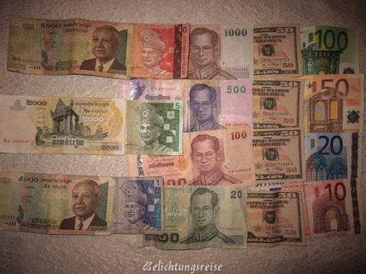 Ein paar Währungen haben sich in der Reisekasse angesammelt :-)